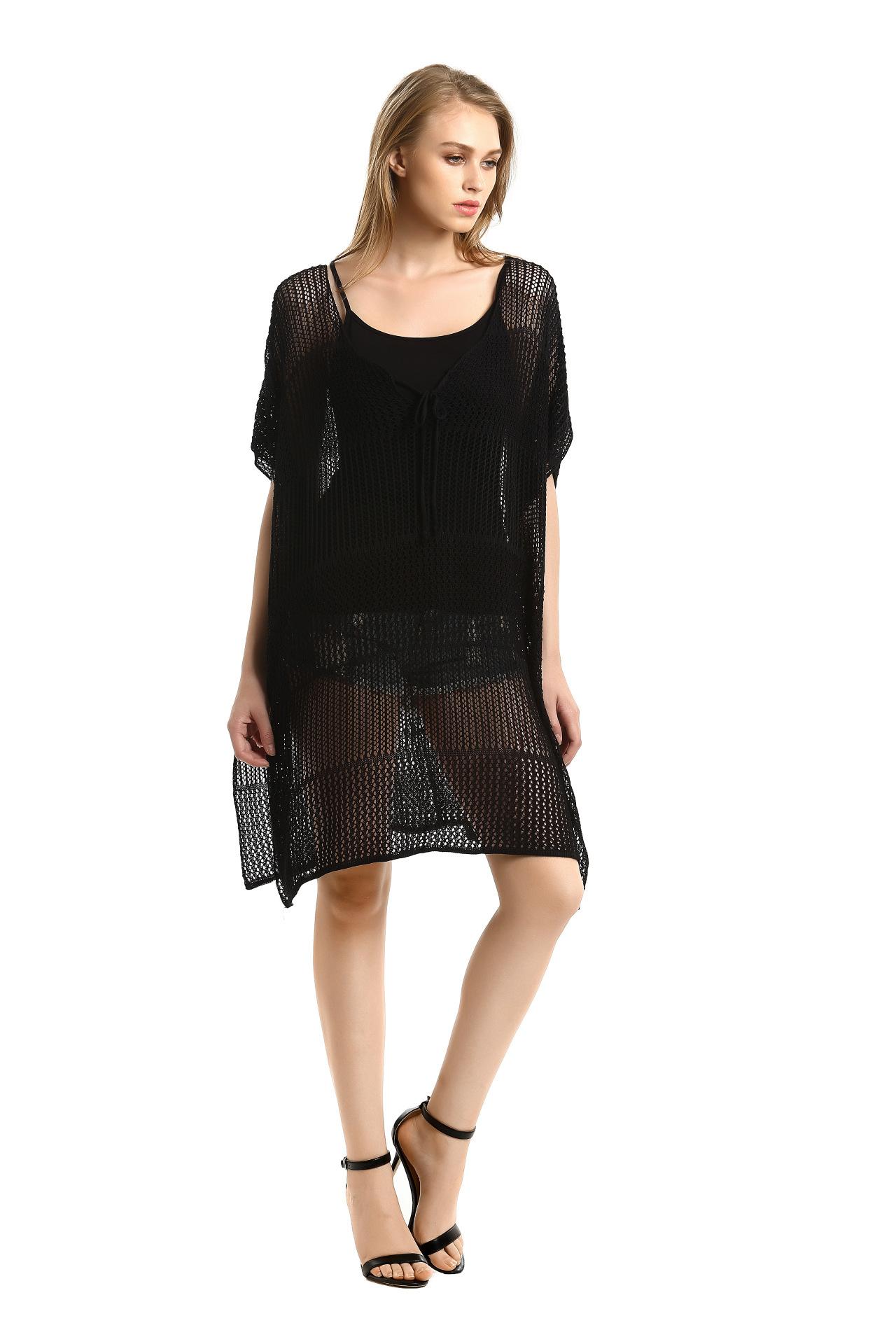 17 New Knitted Crochet Beach Tunic Bandage Bikini Cover-Ups Sexy Swimwear Cover up Women Beach Dress 7