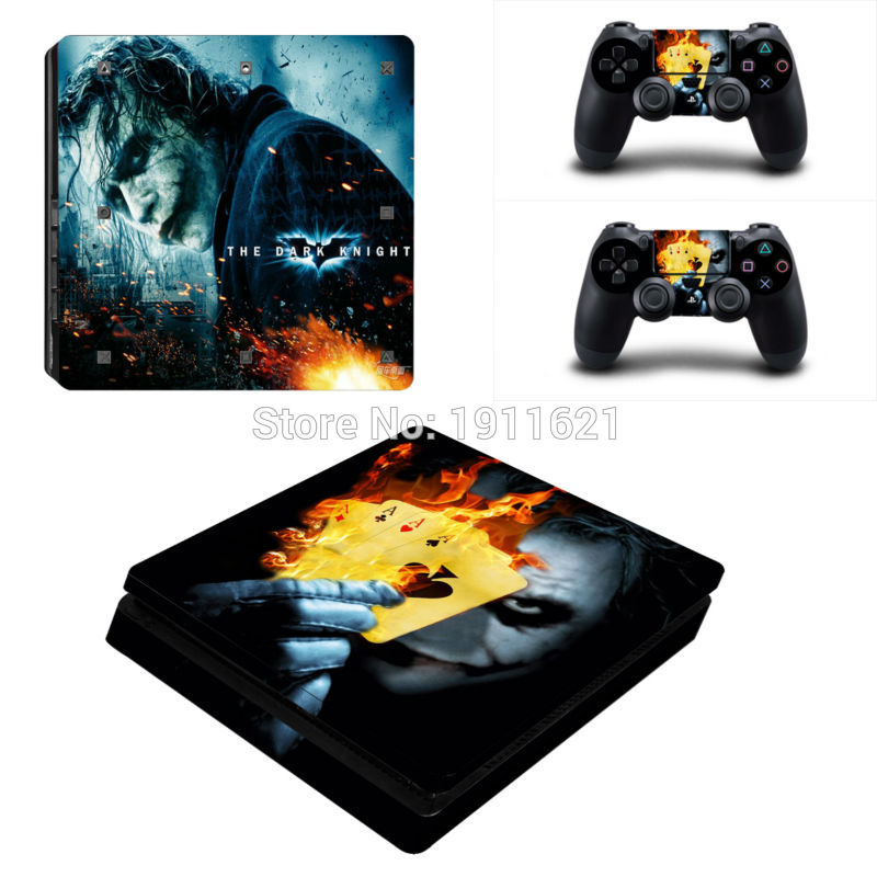OSTSTICKER Vinyl skin sticker for Sony ps4 slim Games console and 2pcs controller skins for ps4 slim