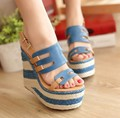2015 straw braid wedges sandals ultra high heels platform sandals for women fashion bohemia wedges sandals high heels shoes