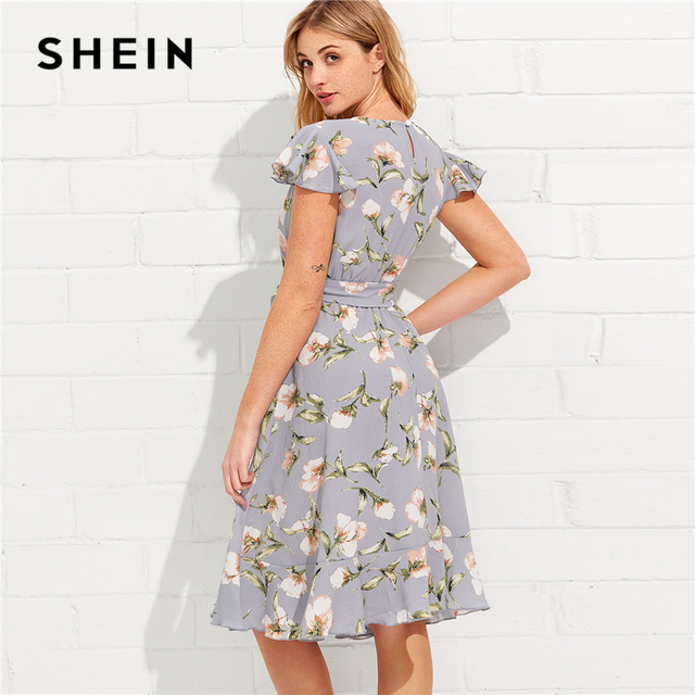SHEIN Tie Neck Ruffle Hem Calico Dress 2018 Summer Fit and Flare Short Dress Women  Cap Sleeve A Line Floral Vacation Dress 1