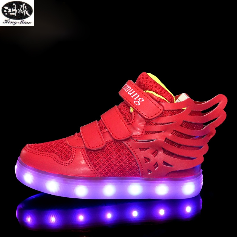 Children Shoes Glowing Sneakers Fashion High Quality Light Up 7 Colors USB Charge Led Kids Shoes Sole Luminous Sneakers luminous glowing sneakers children kids led shoes breathable zapatos shining children usb charging kids led shoes 50z0005