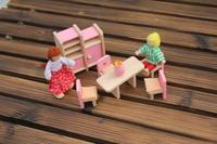 W008 High Quality Cute Pink Children Gift Kids Wooden Toy Furniture Doll House Set DIY Educational
