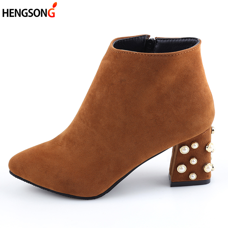 2017 Autumn Women Martin Boots Fashion Pearl Ankle Boots Pointed Toe High Square Heel Warm Winter Women Boots Brand Plus Size 42 bottes femmes 2017 autumn fashion martin boots leather shoes woman platform square medium heel ankle boots for women plus size