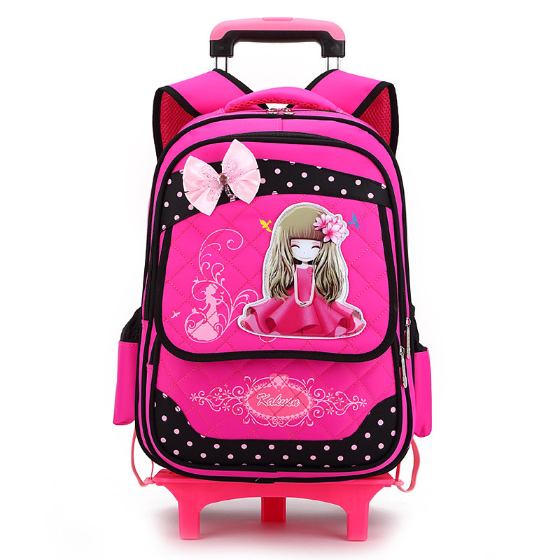 Cartoon Girls princess cute Bow School Bags with 2/6 Wheels Boys School Backpack Trolley Bag Children Travel School Bags Mochila hot sale girls boys cartoon children school bags cute drawstring masha