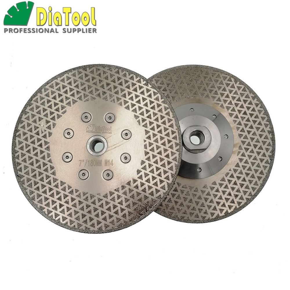 цена на DIATOOL 2pcs 7/180mm Electroplated Diamond Cutting & Grinding Discs For Marble & Granite With M14 Flange Free-shipping