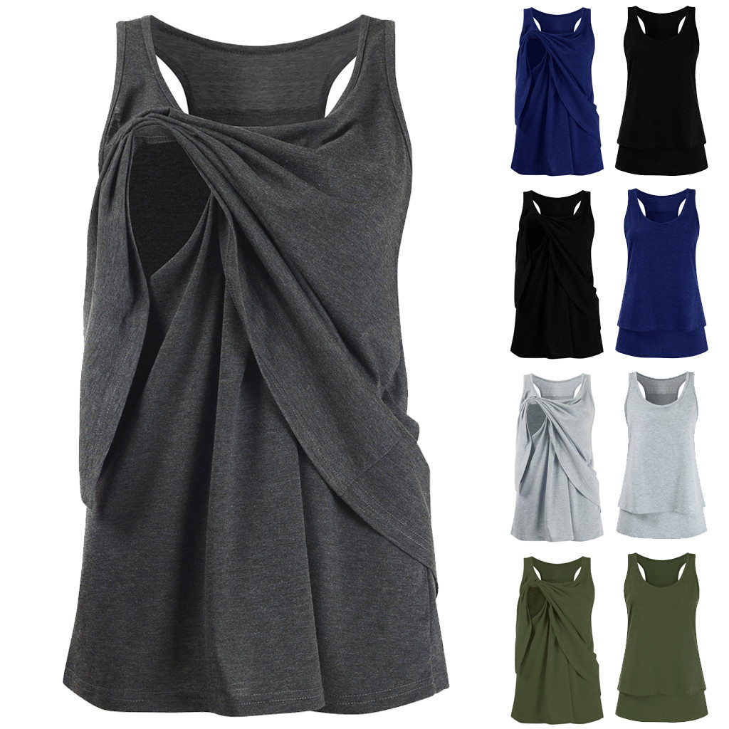2b896c82582f0 Women Casual Maternity Vest Clothes Sleeveless Solid Layer Pregnancy  Nursing Top Casual T Shirt Summer Women Clothes Plus Size