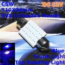 12 V LED Azul da Cor Do Carro Agulha Dupla Lâmpada (Iluminação COB Quadrado) C5W 36mm Para Cima lâmpada de leitura Luz Tronco