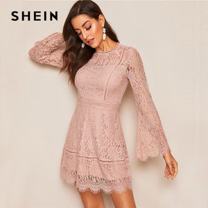 Image 4 - SHEIN Romantic Trumpet Sleeve Floral Lace Overlay Dress Women Clothes 2019 Spring Zipper Flounce Sleeve Mini Dress Party Dresses