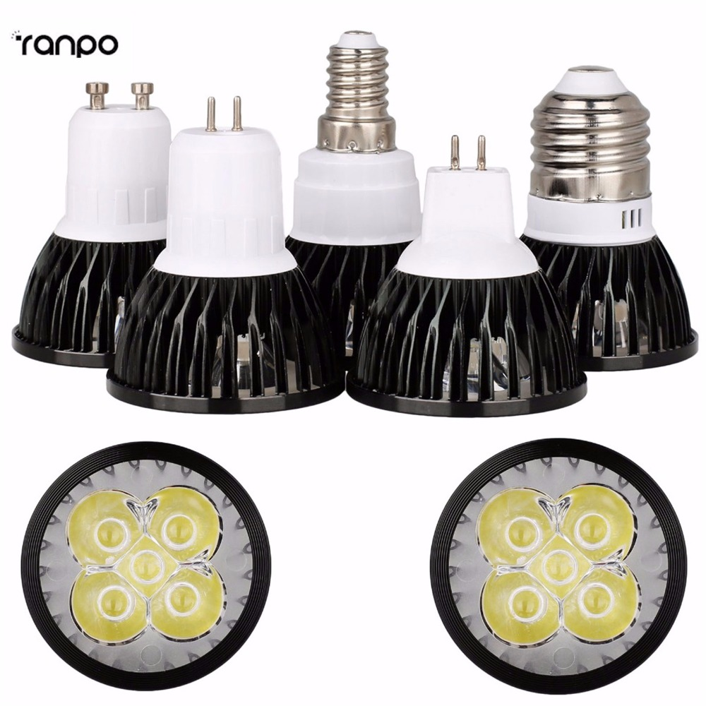 Black LED Spotlight E26 E27 E14 GU10 MR16 GU5.3 6W 8W 10W Lamp Bulb Lighting AC 85-265V