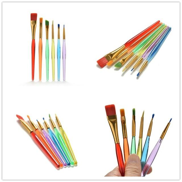Nuevo 6 unids/set pinceles de aceite de acuarela de artista nailon Juego de lápices de pintura para el cabello suministros de pintura