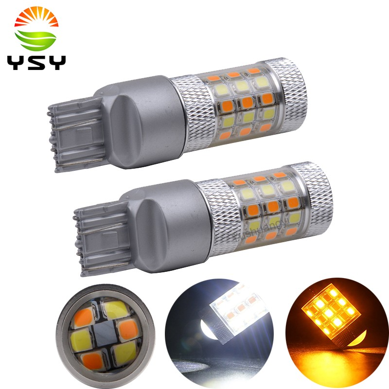 2pcs Hot sale White amber auto led drl light dual color T25 3157 7443 LED Turn Signal Light switchback 42smd 2835 LED Car Lights