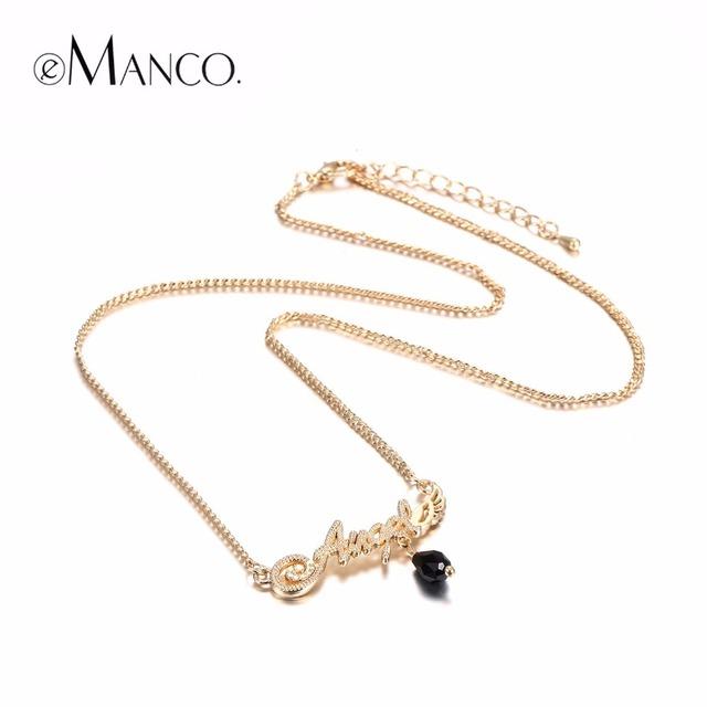 Emanco stylish chic charme anjo pingentes alfabeto colar para as mulheres banhado a ouro choker jóias para 2017 presente de ano novo
