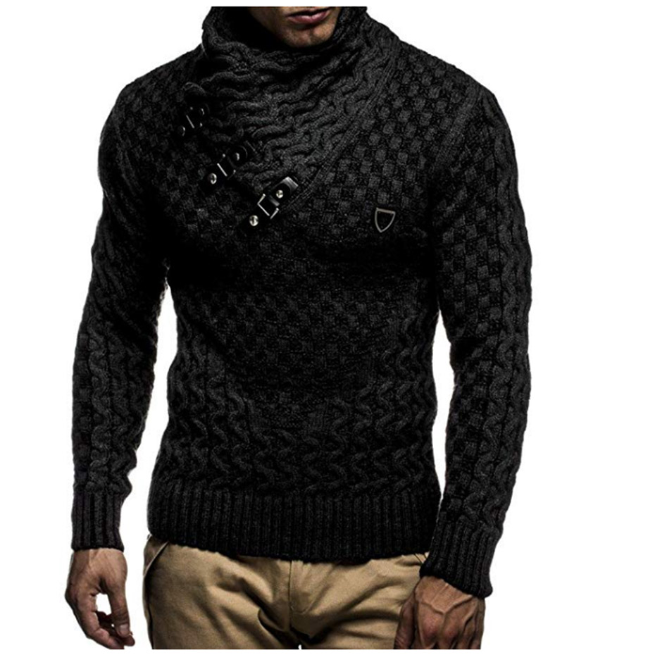 Zogaa 2019 Autumn Winter Turtleneck Sweater High Lapel Pullover Jacquard Sweater Men Solid Color Slim Fit Casual Knitted Sweater