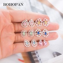 Colorful Gem Stud Earrings Set For Women Hollow Alloy Fashion Simple Crystal Geometry Jewelry Accessories Mix Bijoux