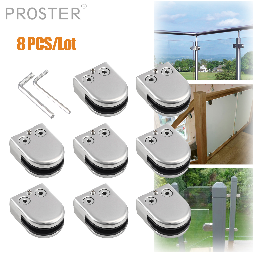 12 X Stainless Steel Glass Clamp 304 Clip Flat Back Bracket 8-10mm For Handrail