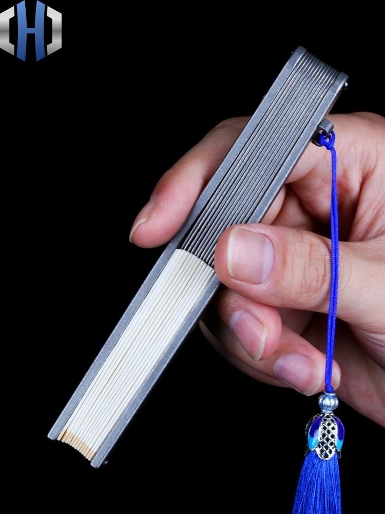 Ze stopu tytanu składany wentylator cztery/pięć/sześć Cal Metal żelaza Kung Fu ze stali kości sztuki walki Tai Chi EDC korzystać z technik samoobrony |Łomy|Narzędzia -