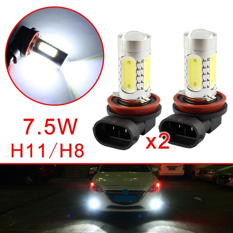 Pair Car LED Bulbs H11 H8 For Auto Fog Driving Light Lens Projector Lamp Foglight Trim