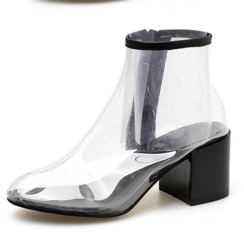 FragrantLily Femme Cheville Bottes PVC Rainboots Imperméables Chaussures  2018 Automne Transparent Épais Talon Bottes de Pluie 5912d6a05529
