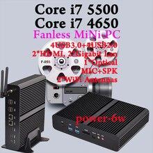 [5Gen Broadwell CPU]FREE SHIPPING HD 6000 4K HD HTPC Win10 Mini pc i7 Barebone Intel Nuc Fanless Computador Core i7 4650U 5500U