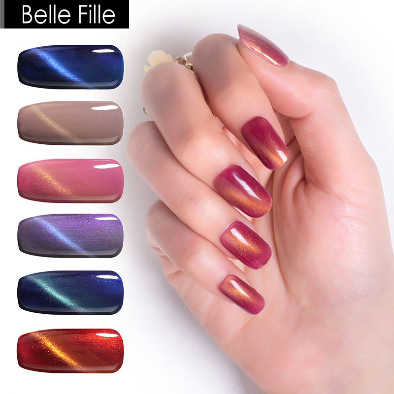 BELLE FILLE Cat Eye Gel Nail Polish UV 10ml 3D Bling LED Cat Eye Gel Polish