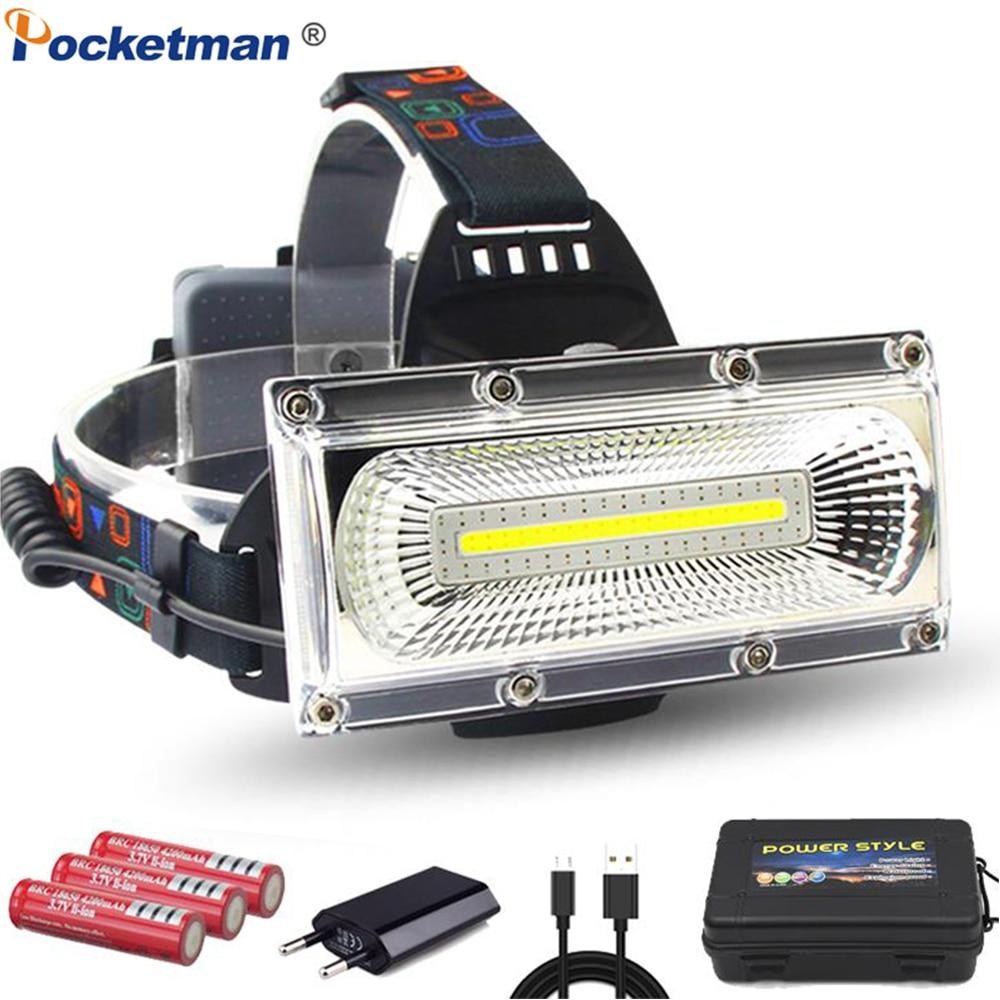 Nuovo Potente COB LED Del Faro USB Ricaricabile Del Faro Impermeabile Testa Della Torcia Potente Testa Luce Della Lampada Della Testa con 18650 Batteria