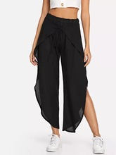 S-XL women casual leisure brand wide leg pant spring summer holiday full length split trousers