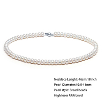 Classic 18inch about 45 Large freshwater Pearls beads chokers necklace pearl diameter 10 11mm with slim long gift box