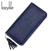 LAZYLIFE Роскошные модные крокодил узор Для женщин кошельки кожаный бумажник женский кошелек сцепления Деньги Для женщин кошелек портмоне
