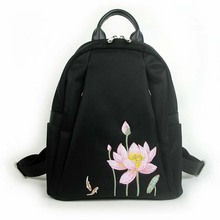 2019 new women's shoulder bag Messenger bag embroidery flower Chinese style embroidery lotus bag retro black simple fashion hand цена и фото