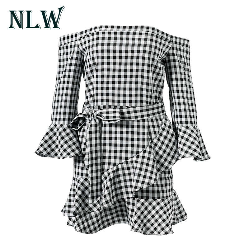 NLW модное женское платье с расклешенными рукавами, с открытыми плечами, в клетку, сексуальное мини-клуб, платья с бантом на талии, 2019, короткий галстук-бабочка, Vestidos