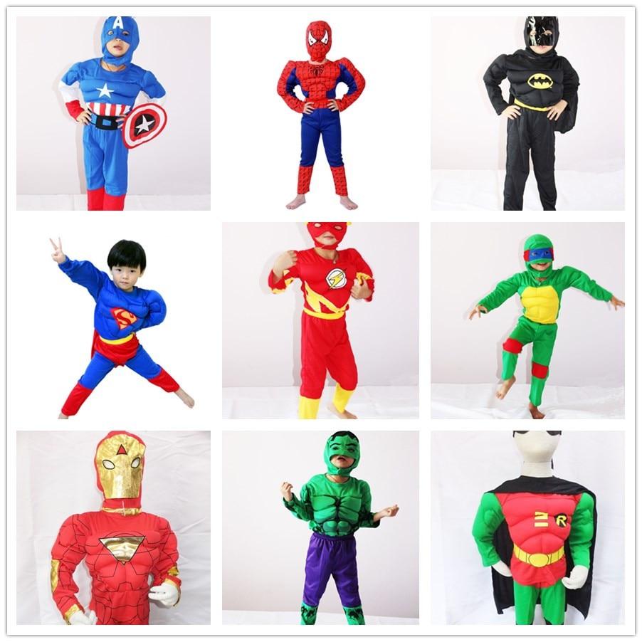 Birthday Costume Kids Muscle Captain America Movie  Children's Day Costume SpiderMan Batman Hulk Avengers Halloween Cosplay