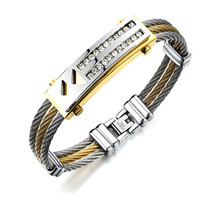 Men S Bracelet 3 Rows Wire Chain Bracelets Bangles Fashion Punk 316L Stainless Steel Double Row