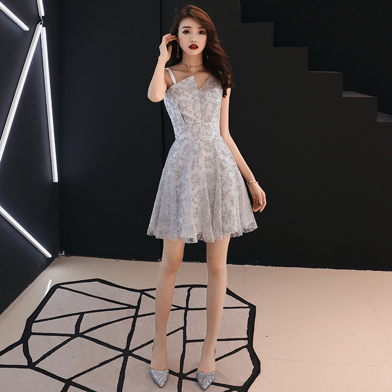 Bridesmaid     Dress   V-neck Champagne Sleeveless Short New Party   Dresses   Women   Bridesmaid   Snow Pattern Fomal Tank Prom Gowns E018