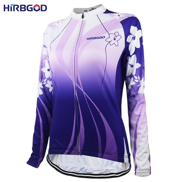 HIRBGOD Stylish Lightweight Lady Cycling Jersey Women s Long Sleeve Flower  Sport Ride Bike Bicycle Shirt jersey Clothing-NR152 e76a048eb