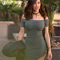 OOTN Casual sheath gray short sleeve off the shoulder trend women dress sexy slash neck autum&winter fashion party mini dress
