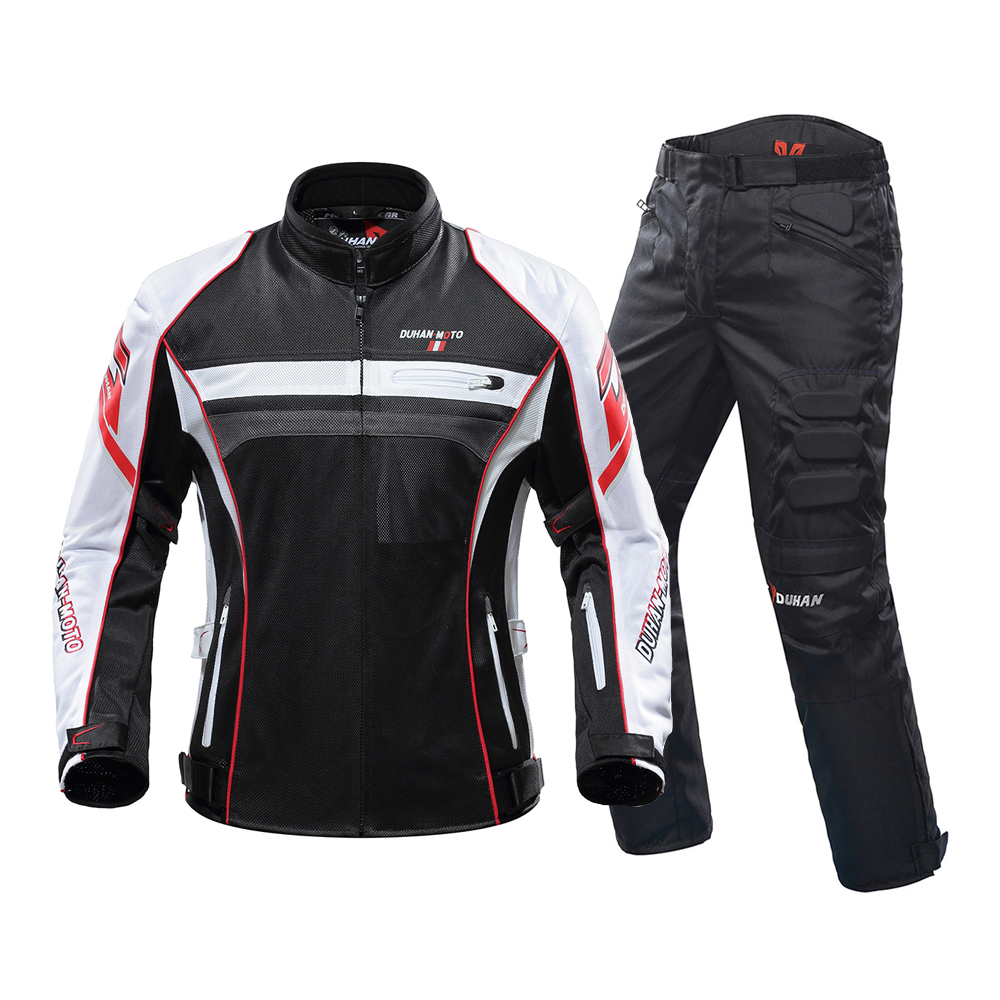 DUHAN 2019 Motorcycle Jacket Men&Motorcycle Pants Breathable Motorcycle Suit Chaqueta Moto With Protector For Summer