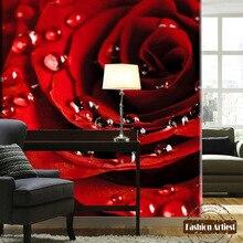 Custom 3d red rose flower blossom wallpaper