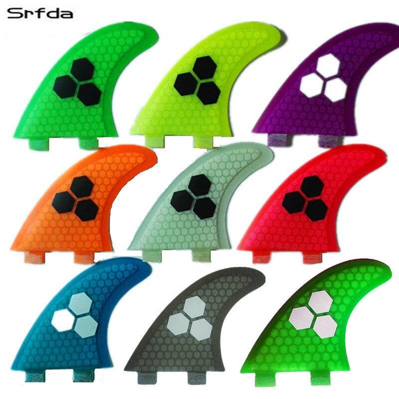 Srfda en fiber de verre et en nid d'abeille bleu vert orange wihte surfboard fin propulseur pour boîte FCS surf ailettes taille M SUP ailettes top qualité