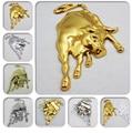 1pc High-quality Metal Emblem Car Badge 3D cow ox sticker silver gold