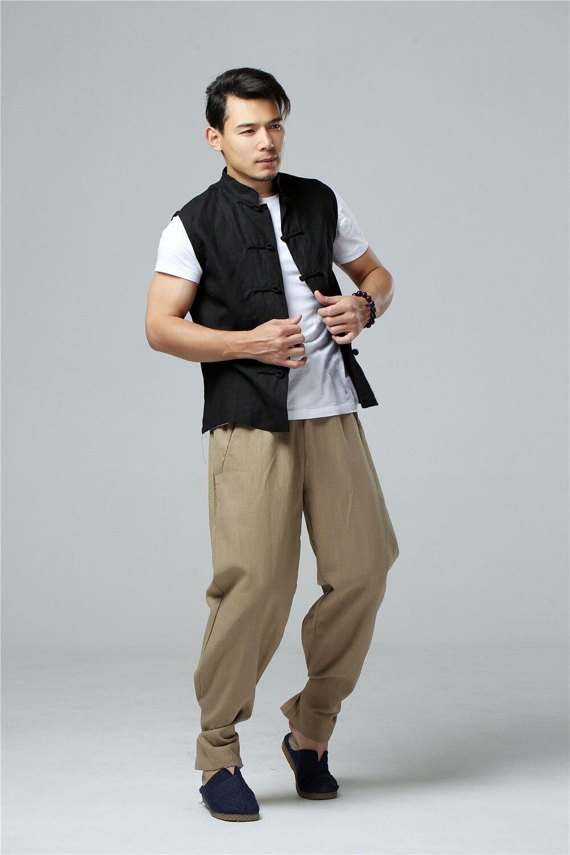 LZJN 2019 Men's Summer Waistcoat Chinese Style Vintage Breathable Linen Button Down Kung Fu Shirt Sleeveless Vest Jacket  (34)