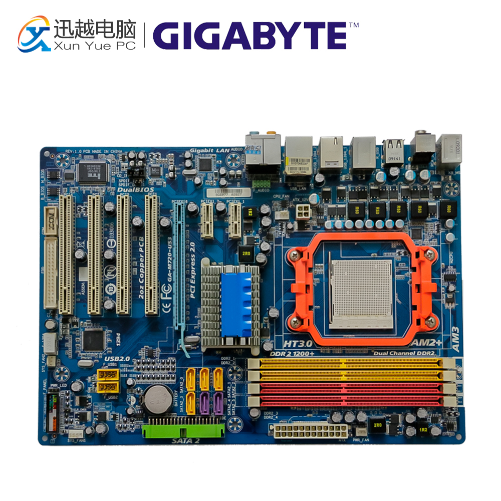 Gigabyte GA-M720-US3 Desktop Motherboard M720-US3 Nvidia nForce 720D Socket AM3 DDR2 ATX On Sale gigabyte ga ma770t us3 desktop motherboard 770 socket am3 ddr3 sata2 usb2 0 atx