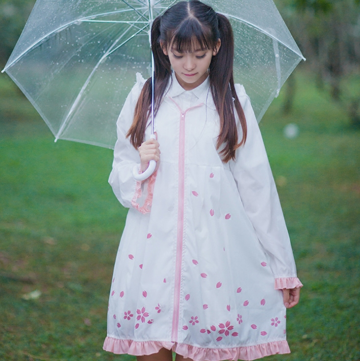 Cute Sweet Lolita Style Sakura Printing Raincoat Cherry Blossom When Meet Water Feminino Women White Raincoats Elegant Raindress