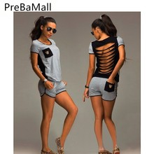 Tracksuit Womens Back Hollow Tops+Hot Shorts Two Piece Set Outfits Loose Clothing For Women conjuntos de mujer C137