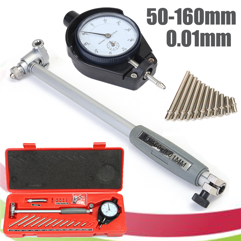 50-160MM 0.01mm Dial Bore Gauge Indicator Diameter Indicators Precision Engine Cylinder Measuring Test Kit Tool Meter цена