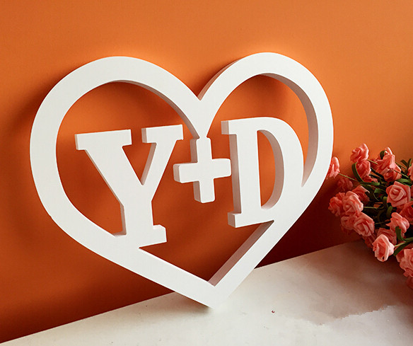 customletter love heart shape white wooden letters wedding decoration wall sticker with free shipping