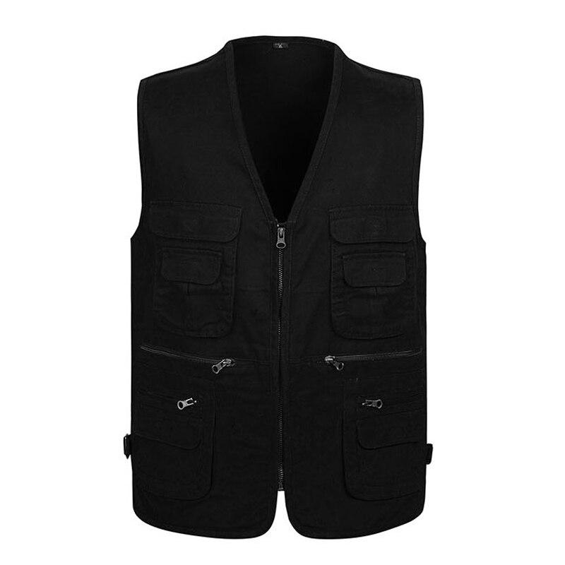 Cotton Varsity Vest With Many Pockets For Men Spring Summer Casual Tool 4 Colors Sleeveless Jacket Male Multi Pocket Waistcoat