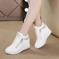 Fashion sneakers womens Leather height increasing boots women high heel black white bling zipper Platform wedge shoes WW 24