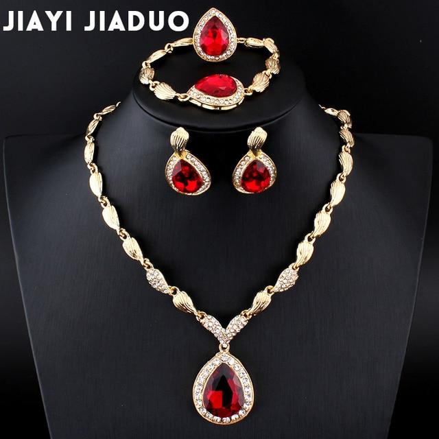jiayijiaduo Wedding Jewelry Set African Gold-color jewel pendant Necklace women earrings bracelet ring clothing dropshipping