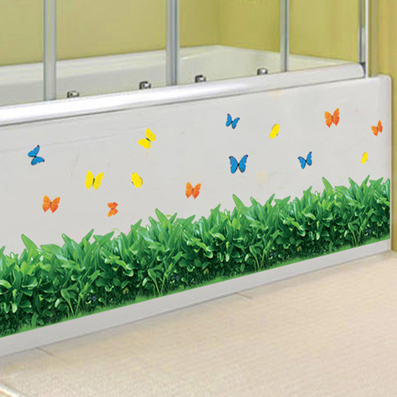 Baseboard Green grass butterfly DIY Removable Art Vinyl Wall Stickers Living room Bedroom Mural Decal home decor kicking line
