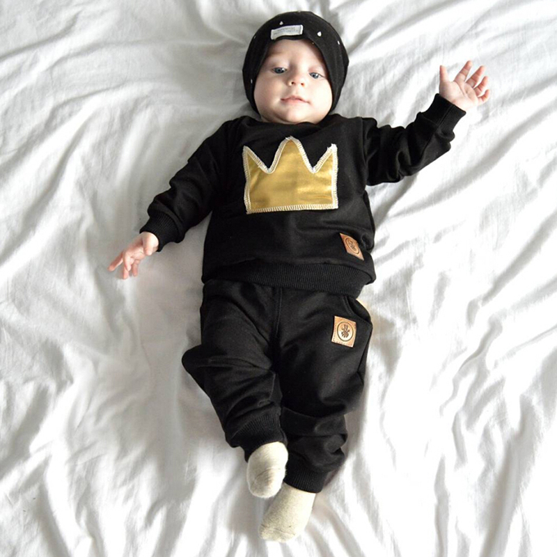 2pcsset Autumn baby boy pullover long sleeves O-Neck cotton printing Imperial crown Child clothing set ropa de bebeBB193